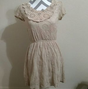 Floral Lace Dress with slip Beige